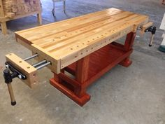 """American Made Woodworking Bench very desirable and clean lines. Source by Related posts: The Woodworking Bench: Things One Must … Continue reading """"American Made Woodworking Bench very desirable and clean lines. Small Woodworking Projects, Woodworking Bench Vise, Unique Woodworking, Woodworking Furniture, Woodworking Plans, Wood Projects, Workbench Plans, Woodworking Workshop, Woodworking Crafts"""