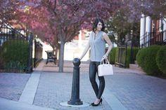 Bow Luxe: Feminine Mod in Muted Floral Tones. Wilfred Free Daria Legging, Kate Spade Handbag, Nine West Pumps. Photo: @Jodi O Photography Calgary