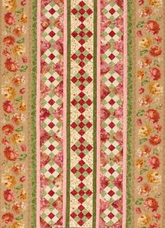 Nine-Patch Row   Simply changing the floral panels for more rows of 9 patch would make this suitable for men.