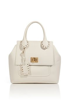 EMILIO PUCCI  Ivory Leather Tote with Studded Trim