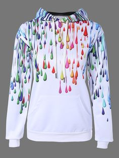Pullover 3D Print Splatter Paint Hoodie