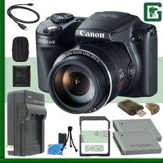 Canon PowerShot SX510 HS CMOS Digital Camera + 64GB Green's Camera Package 4