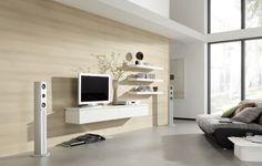 Wohnwand Gestaltung Ideen Zum Einrichten Wohnzimmer Einrichtung Beige Wand  Weiße Deko Weiße Technologien Fernseher Regale Musik
