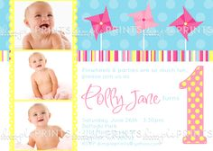 Pinwheel and Polka Dots Printable Invitation - Dimple Prints Shop