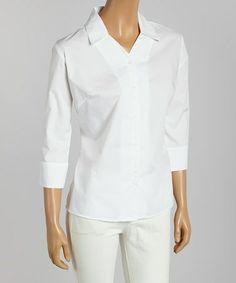 Another great find on #zulily! White Poplin Three-Quarter Sleeve Button-Up - Women & Plus by Jockey #zulilyfinds