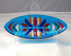 Fused Glass Platter Turquoise short oval by SalmonRiverGlassArt