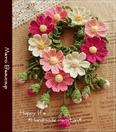 How to Crochet a Puff Flower Diy Crochet Flowers, Crochet Wreath, Crochet Flower Tutorial, Crochet Flower Patterns, Flower Applique, Knit Or Crochet, Crochet Gifts, Cute Crochet, Crochet Motif
