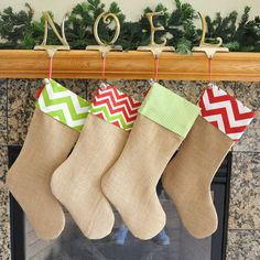 Burlap Christmas Stocking with Fabric Cuff by holidayhomedecor, $24.00