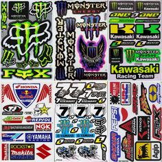 Sheet Of 5 Stickers Decals Dirt Bike MTB Motocross Helmet BMX Quad Skateboard