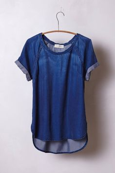 Anthropologie Brentwood Denim Tee S, Dark Blue Structured Boxy Top CLoth & Stone #ClothStone #Blouse #Casual