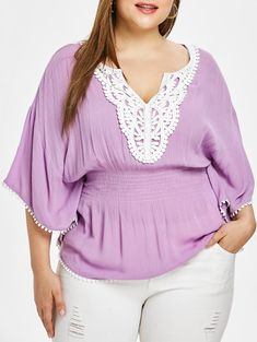 Plus Size Butterfly Sleeve Splicing Blouse Plus Size Blouses, Plus Size Tops, Plus Size Women, Crop Top Shirts, Lace Shirts, Scarf Shirt, Types Of Sleeves, Blouses For Women, Plus Size Fashion