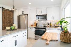 Christina & Ant Anstead's New Home | Christina on the Coast | HGTV Boho Kitchen, Kitchen Design, Kitchen Ideas, Modern Kitchen Renovation, Kitchen Remodel, Bamboo Roof, Crib Wall, Grey Countertops, Traditional Doors