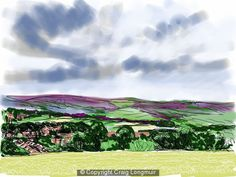 Craig Longmuir, 'Coal Aston from the road to Apperknowle' - longmuir craig art landscape drawing ipad