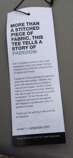 Free Set Global's clothing tag. #fairtrade #ethicalfashion