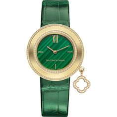 VAN CLEEF & ARPELS Charms gold, diamonds and malachite watch (103,705 SAR) ❤ liked on Polyvore featuring jewelry, watches, gold diamond watches, white gold jewellery, gold jewelry, diamond charm and white dial watches