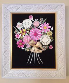 Vintage & Costume Jewelry Framed Flower by NotTooShabbyDesignCo