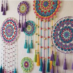Easy Bohostyle Dream catchers bright color knitted dream catchers handmade wall decor home decor wall hanging dream catcher Doily Dream Catchers, Dream Catcher Craft, Motif Mandala Crochet, Crochet Patterns, Mandala Yarn, Dreamcatcher Crochet, Dream Catcher Patterns, Crochet Wall Hangings, Crochet Decoration