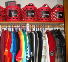 Organize this Family red baskets from dollar tree for boy's closet storage