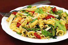 pesto pasta with chicken, asparagus, and arugula. i may skip the arugula