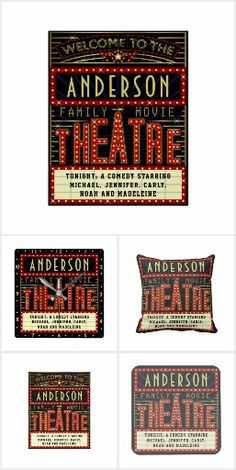 New: Family Movie Theatre / Theater Personalized Home Cinema Decor Collection