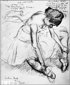 Artist: Degas, early 1900's France ----- depth created by contrast in line weight