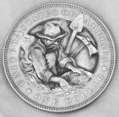 Gold Rush Old Fashioned Style Hat Hobo Nickel Hand Engraved Coin Art