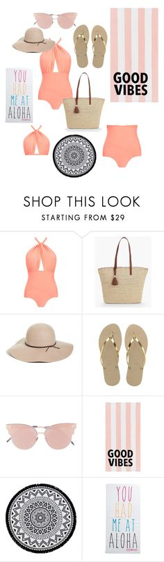 """Untitled #72"" by lejlasehic ❤ liked on Polyvore featuring Lilliput & Felix, Talbots, Halogen, Havaianas, So.Ya, PBteen, Linum Home Textiles and Rip Curl"