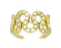 14k Yellow Gold CZ Adjustable Wavy Body Jewelry Toe Ring - JewelryWeb