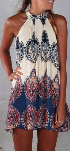 Perfect summer outfit for the beach this summer! Sleeveless Vintage Printed Ethnic Style Casual Dress. More summer outfits at http://www.cutedresses.co/go/Sleeveless-Tunic-Beach-Dress-Sundress
