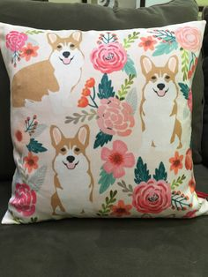 Floral Corgi pillow case by TheCreativeCorgiShop on Etsy https://www.etsy.com/listing/473565105/floral-corgi-pillow-case