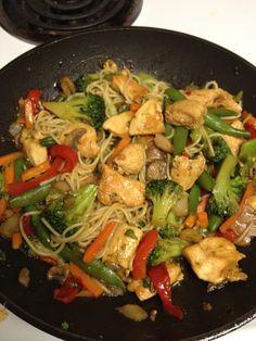 Asian Stir fry Pasta  Chicken  stir fry veggies  angel hair pasta  stir fry seasoning  teriyaki sauce