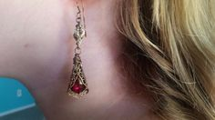 Sweetheart Earrings With Ruby Swarovski Crystals in Victorian Settings Lux Wrap Prom Earrings, Bridesmaid Earrings, Jewelry Sets, Unique Jewelry, Fall Gifts, Baroque Fashion, Swarovski Crystal Earrings, Matching Necklaces, Ruby Red