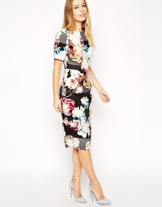 ASOS | ASOS Wiggle Dress in Textured Photo Floral Print at ASOS