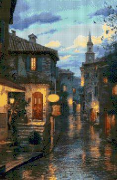 Romantic Evening in Eze France Cross Stitch pattern PDF