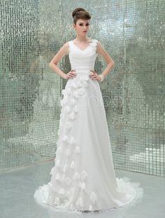 Moda gola v-line marfim Applique tafetá vestido de noiva casamento