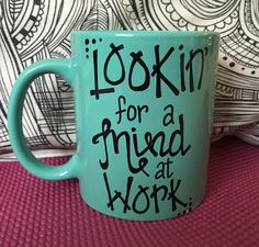 Lookin for a mind at work (work!) mug...this teal, 12 oz, handpainted mug was inspired by the new Broadway musical Hamilton that is sweeping our