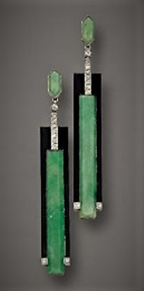 Art deco earring onyx, jade, diamonds
