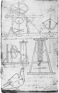 """Folio 22v des carnets de Villard de Honnecourt et ses inventions techniques """"par ce moyen, on fait une scie qui scie par elle seule, un arc qui ne manque pas son but, un ange qui tient son doigt (toujours) dirigé vers le soleil, la tête de l'aigle qui tourne vers le diacre quand il lit"""""""