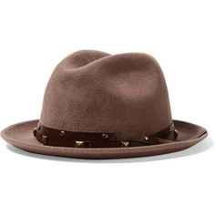 Sensi Studio California leather-trimmed wool-felt fedora (360 RON) ❤ liked on Polyvore featuring accessories, hats, pink, wool felt fedora, felt fedora hat, pink hat, wool fedora hat and wool hat