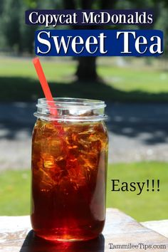 This copycat McDonald's Sweet Tea Recipe is a Southern specialty. So easy to make and tastes refreshing and amazing! Make this restaurant drink at home this summer! Mcdonald's Sweet Tea Recipe, Sweet Tea Recipes, Iced Tea Recipes, Sangria Recipes, Coctails Recipes, Refreshing Drinks, Summer Drinks, Fall Drinks, Mcdonalds Sweet Tea