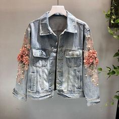 Stand apart from the crowd Embroidered Flower Pearl Bead Denim Jacket! Boho Style Jacket Stand apart from the crowd Embroidered Flower Pearl Bead Denim Jacket! Denim Fashion, Boho Fashion, Fashion Outfits, Fashion Top, Cheap Fashion, Modest Fashion, Fashion Clothes, Style Fashion, Denim Mantel
