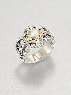Just beautiful!  Konstantino Pearl, 18K Gold & Sterling Silver Band Ring