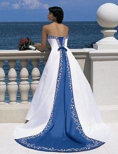 Gorgeous Blue and White Formal fashion blue dress white prom gown evening strapless long