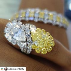 Great shot of this amazing yellow and white diamond ring by @adornmentality !! #Setare' #Bigdiamonds #Diamonds #Yellowdiamond #Platinum #Precious #Handcrafted #Highjewelry #Newyork #Onlythebest