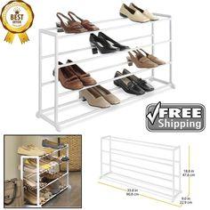 Shoe Rack Whitmor 20 Pair Floor White Perfect Small Space Solution Apartment New #Whitmor