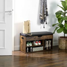 Put On Your Shoes, Padded Bench, Shoe Bench, Space Saving Storage, Shoe Organizer, Shoe Storage, Engineered Wood, Wood Paneling, Small Spaces