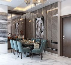 Luxury Dinning Room, Elegant Dining Room, Dining Room Design, House Architecture Styles, Luxurious Bedrooms, Home Interior Design, Art Deco, Living Room, Building Homes
