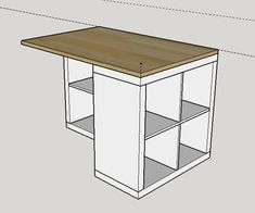 Work plan for central island - Ikea DIY - The best IKEA hacks all in one place Ikea Bookcase, Ikea Desk, Table Ikea, Diy Kitchen Island, Ikea Kitchen, Ikea Kallax Regal, Diy Furniture Plans Wood Projects, Craft Room Storage, Küchen Design