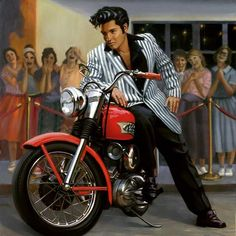 New Elvis Harley Painting By David Uhl Elvis And Priscilla, Lisa Marie Presley, Motorcycle Art, Bike Art, Chopper Motorcycle, Motorcycle Posters, David Mann Art, Illustrations Vintage, Retro Vintage