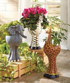 Set of 3 Safari Animal Planters Giraffe Zebra and Elephant Garden decoration Resin Planters, Large Planters, Garden Art, Garden Design, Garden Decor Items, Clay Crafts, Clay Art, Outdoor Gardens, Indoor Outdoor